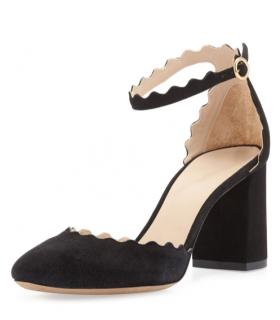 Chloe Suede Lauren Scallop Ankle Strap Sandals