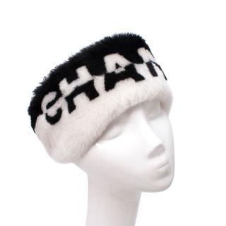 Chanel Bicolour Logo Shearling Winter Headband