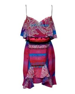 Peter Pilotto Pink & Blue Orchid Print Sleeveless Dress