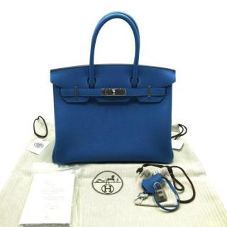 Hermes Blue Clemence Leather Birkin 30 PHW
