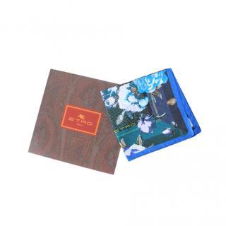 Etro Blue Silk Printed Scarf