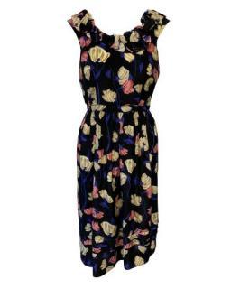 Prada Low Back Ruffle Neck Floral Sleeveless Dress