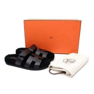 Hermes Black Chypre Shearling 38 Sandals