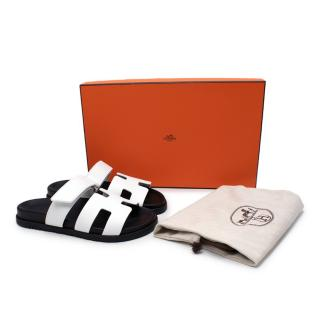 Hermes White Chypre 37.5 Leather Sandals