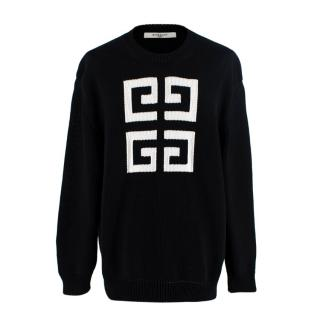 Givenchy Black Intarsia Knit White Logo Sweater