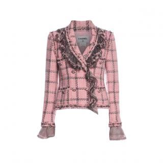 Chanel Paris/London Pink Ruffled Tweed Jacket