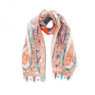Etro Paisley Print Multicoloured Cashmere Blend Scarf
