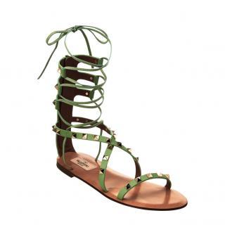 valentino Garavani Green Rockstud Gladiator Sandals