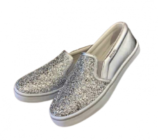 Prada Metallic Silver Glitter Slip-On Sneakers