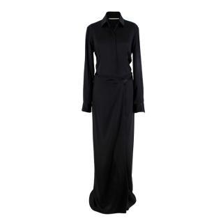 Rosetta Getty Black Silk Satin Long Shirt Dress