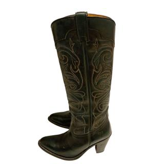 Frye Embroidered Bottle Green Cowboy Boots