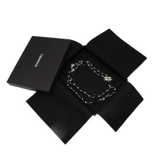 Chanel Double Strand Diamante & Black Faux-Pearl Necklace