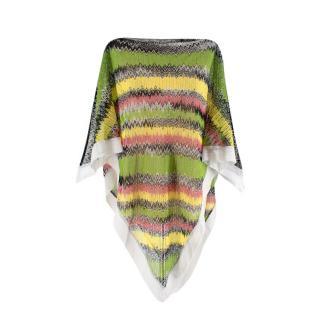 Missoni Tricolour Striped Knit Poncho Tunic Top