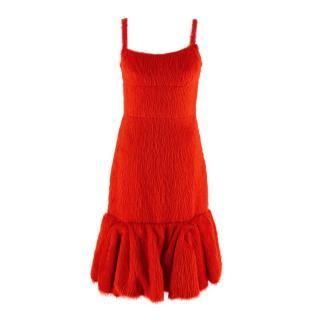 Prada Red Alpaca Silk Blend Fluted Cocktail Dress