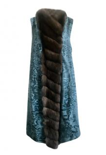 Borbonese Teal Astrakhan & Natural Sable Sleeveless Jacket