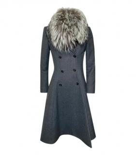 Christian Dior Grey Wool Coat with Fox Fur Collar