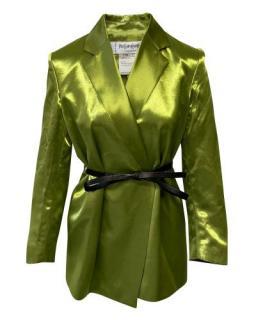 Yves Saint Laurent Vintage Green Satin Belted Blazer
