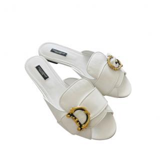 Dolce & Gabbana White Amore Slides