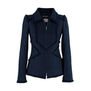 Chanel Navy Blue Metallic Tweed Tailored Jacket