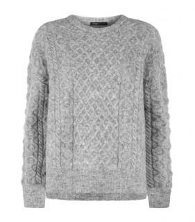 Maje Grey Cable Knit Marcel Jumper