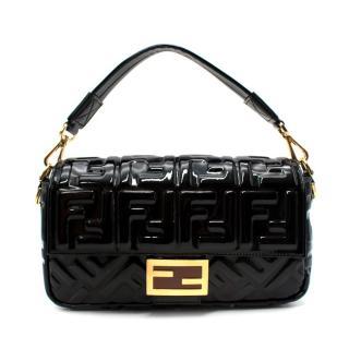 Fendi Black Patent New Season Medium Baguette Shoulder Bag