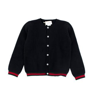 Gucci Kids Cashmere Knitted Navy Button Up Cardigan