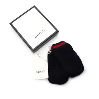 Gucci Kid's Navy Cashmere Knit Mittens