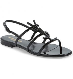 Saint Laurent Black Patent Monogram Cassandra Flat Sandals
