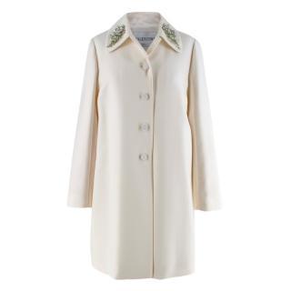 Valentino Ivory Wool Twill Crystal Embellished Collar Dress Coat