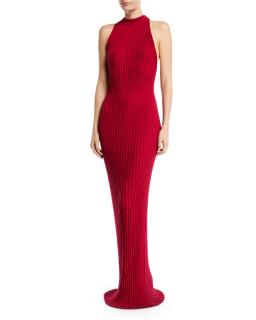 Gabriella Hearst Kira Sleeveless Ribbed-knit Gown