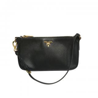 Prada Black Saffiano Leather Small Shoulder Bag