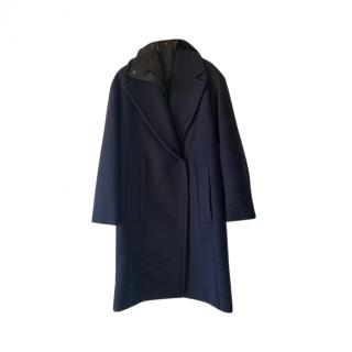 Max Mara Cashmere Blend Blue Hooded Coat
