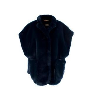 Burberry Whalton Navy Faux-Fur Cape Jacket