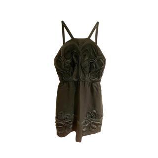 Fendi Black Embroidered Halter Neck Dress