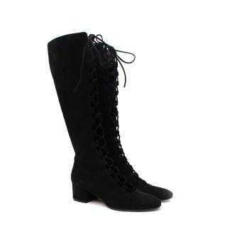 Gianvito Rossi Black Suede Lace Front Block Heeled Knee Boots