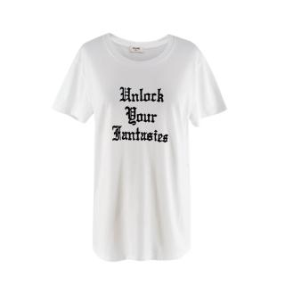 Celine White 'Unlock Your Fantasies' Flocked Slogan T-Shirt