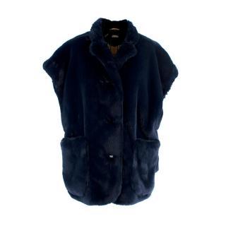 Burberry Whalton Navy Faux-Fur Short Cape Jacket