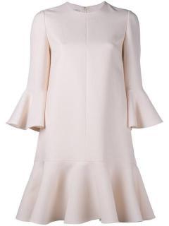 Valentino Wool & Silk Crepe Ruffle Hem Dress