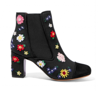 Tabitha Simmons Floral Embroidered Ankle Boots