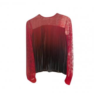 Elie Saab Lace Fringed Ombre Blouse