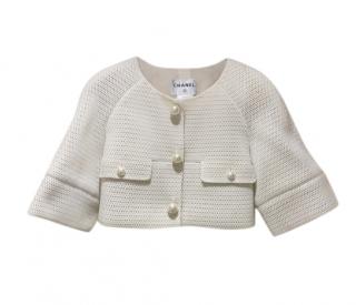 Chanel Ivory Cropped Mesh Jacket