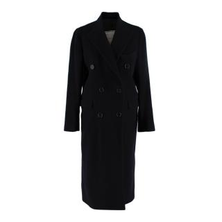 Giuliva Heritage Cindy Deep Navy Wool Cashmere Double Breast Long Coat