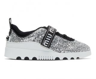 Miu Miu Silver Glitter Logo Sneakers