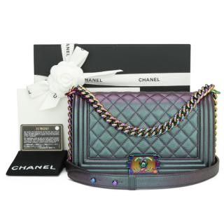 Chanel Purple Iridescent Quilted Leather Medium Boy Bag
