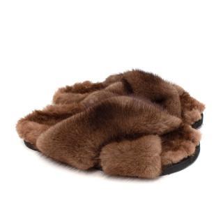 Weekend MaxMara Veruska Natural Brown Mink Fur Slides