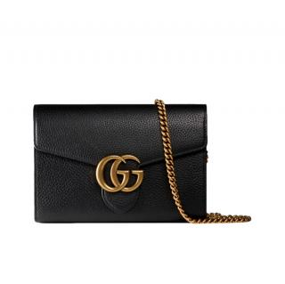 Gucci Black Grained Leather Marmont Wallet on Chain