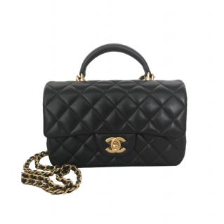 Chanel Black Quilted Lambskin Mini Top Handle Flap Bag