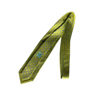 Hermes green sold out penguin print silk tie
