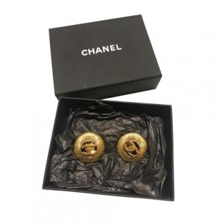 Chanel 24ct Gold Plated CC Clip-On Vintage Earrings