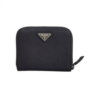 Prada Black nylon compact zip-around wallet